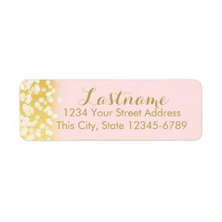 Lumières de rose et de scintillement d'or étiquettes d'adresse retour