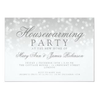 Lumières d'étincelle d'argent de partie de carton d'invitation  12,7 cm x 17,78 cm