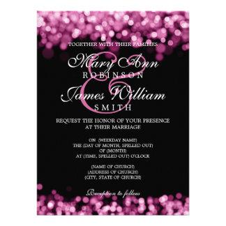 Lumières élégantes de rose de mariage invitation