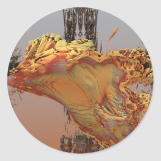 """Luminescence"" 3D fractal art, agate and brass Round Sticker"