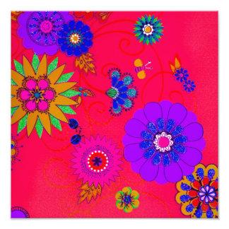 Lumineux à la mode coloré floral photographies d'art