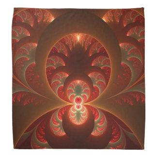 Luminous abstract modern orange red Fractal Bandana