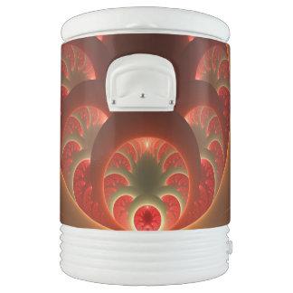Luminous abstract modern orange red Fractal Drinks Cooler