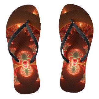 Luminous abstract modern orange red Fractal Flip Flops