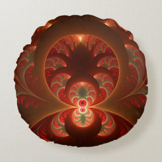 Luminous abstract modern orange red Fractal Round Pillow