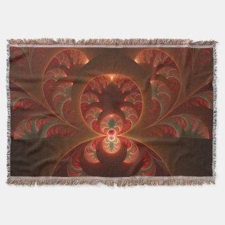 Luminous abstract modern orange red Fractal Throw Blanket