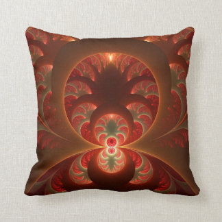Luminous abstract modern orange red Fractal Throw Pillow