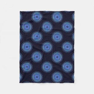Luminous blue mosaic kaleidoscope fleece blanket