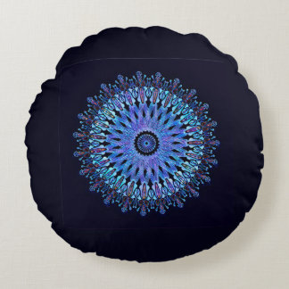 Luminous blue mosaic kaleidoscope round pillow