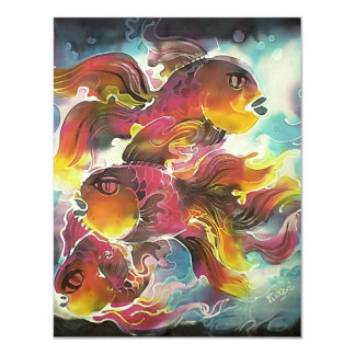 Luminous Colorful Goldfish Silk Art Card