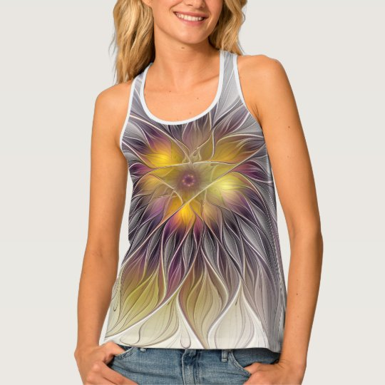 Luminous Colourful Flower, Abstract Modern Fractal Tank Top