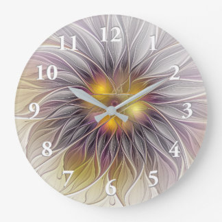 Luminous Colourful Flower, Abstract Modern Fractal Wall Clocks
