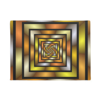 Luminous Tunnel Colorful Graphic Fractal Pattern Doormat