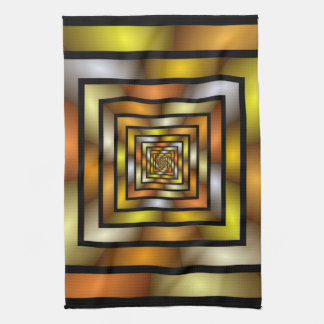 Luminous Tunnel Colorful Graphic Fractal Pattern Kitchen Towel