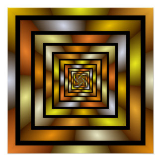 Luminous Tunnel Colourful Graphic Fractal Pattern Poster