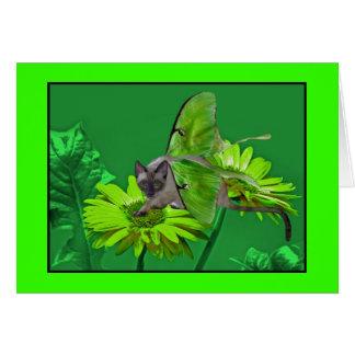 Luna Cat Vibrant Green Gerbera Card