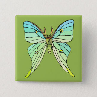 Luna Moth 2 Inch Square Button