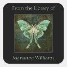 Luna Moth Book Name Plate Sticker