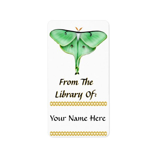 Luna Moth Bookplate Label