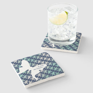 Luna Moth Buffalo Plaid Damask Mint Midnight Blue Stone Beverage Coaster