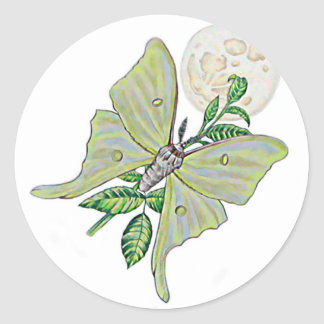 Luna Moth Classic Round Sticker