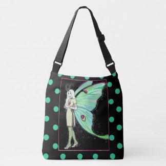 Luna moth fairy polka dot cross body bag