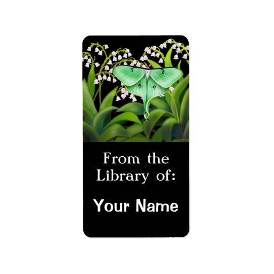 Luna Moth in Lily of the Valley Flowers Bookplate Label