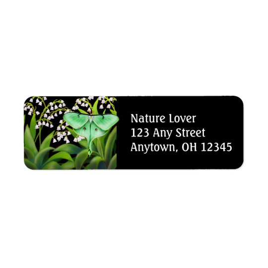 Luna Moth in Lily of the Valley Flowers Label Return Address Label
