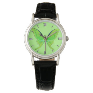 Luna Moth - Lime Green on a Pale Green Background Watch