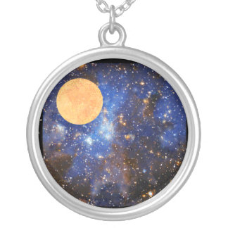 Luna Over Nebula Silver Plated Necklace