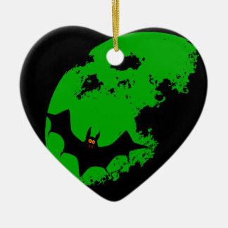 Lunar Bat Ceramic Heart Ornament