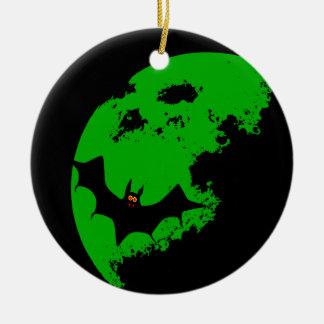 Lunar Bat Round Ceramic Ornament