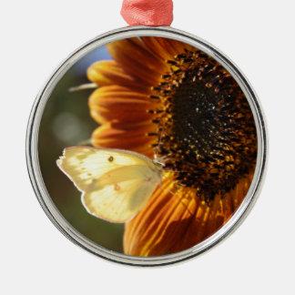 Lunar Moth Sun Landing Silver-Colored Round Ornament