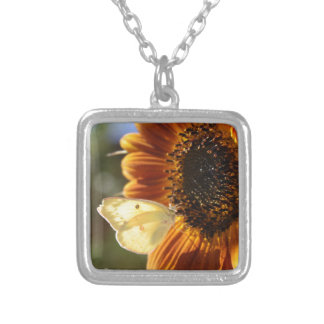 Lunar Moth Sun Landing Silver Plated Necklace