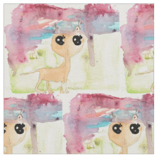 Luna's Watercolor Cat Fabric