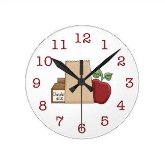 Lunch Bag/Apple/Chocolate Milk Wall Clocks