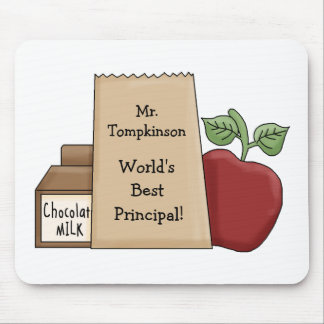 Lunch bag/Apple-World's Best Principal! Mouse Pad