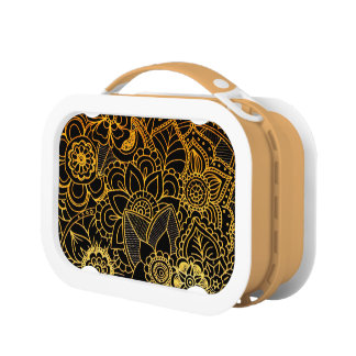 Lunch Box Floral Doodle Gold G523