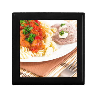Lunch dish of Italian pasta, vegetable sauce Gift Box