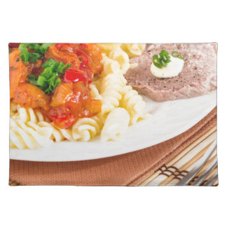 Lunch dish of Italian pasta, vegetable sauce Placemat