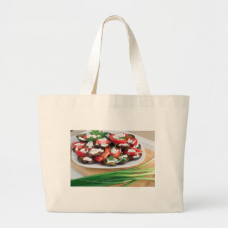 Lunch for a vegetarian large tote bag