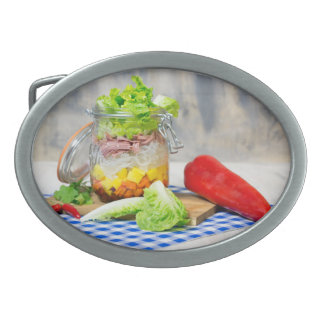 Lunch in a glass oval belt buckle