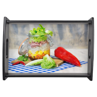 Lunch in a glass serving tray