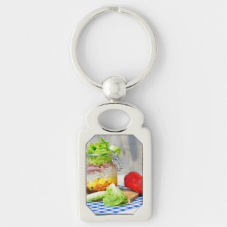Lunch in a glass Silver-Colored rectangle keychain