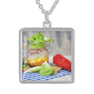 Lunch in a glass sterling silver necklace