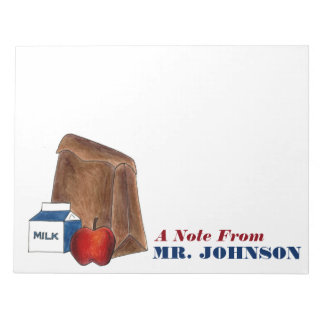 Lunch Lady or Teacher Gift Brown Bag Apple Milk Notepad