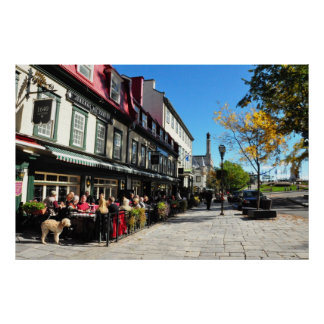 Lunch Vieux Quebec City Street Canada Poster