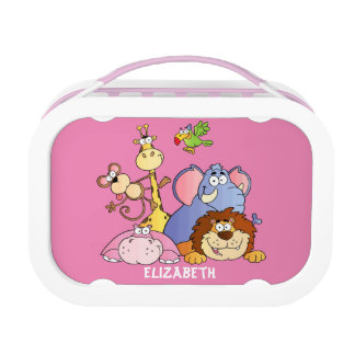 Lunchbox-Pink-Jungle Animals Lunch Box