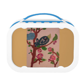 Lunchbox with bird on a branch deco