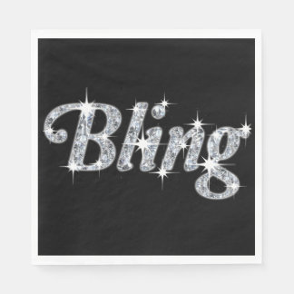 Luncheon Napkin Featuring Faux Diamond Bling Desig